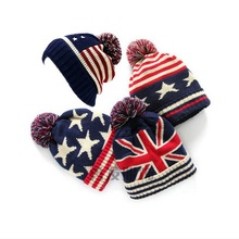 купить Winter Hat Women 2016 Usa American Flag Beanie Wool Winter Warm Knitted Caps Hats For WomeSkullies Beanies gorros femme bonnet по цене 313.93 рублей