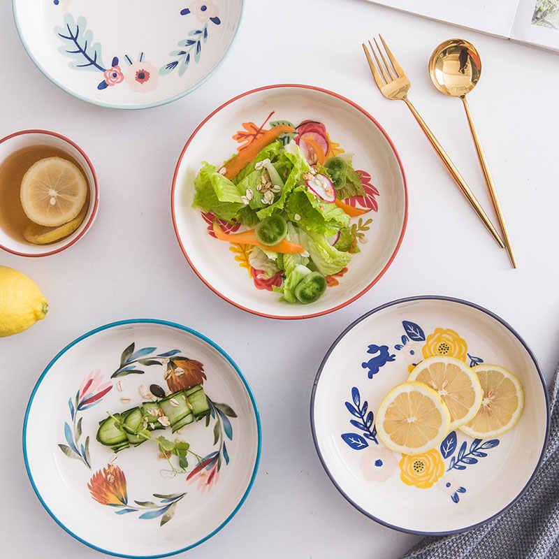 KINGLANG, ручная роспись, четыре сезона, европейская керамическая тарелка для супа, глубокое блюдо, домашние блюда, Круглая Большая тарелка, тарелка для салата