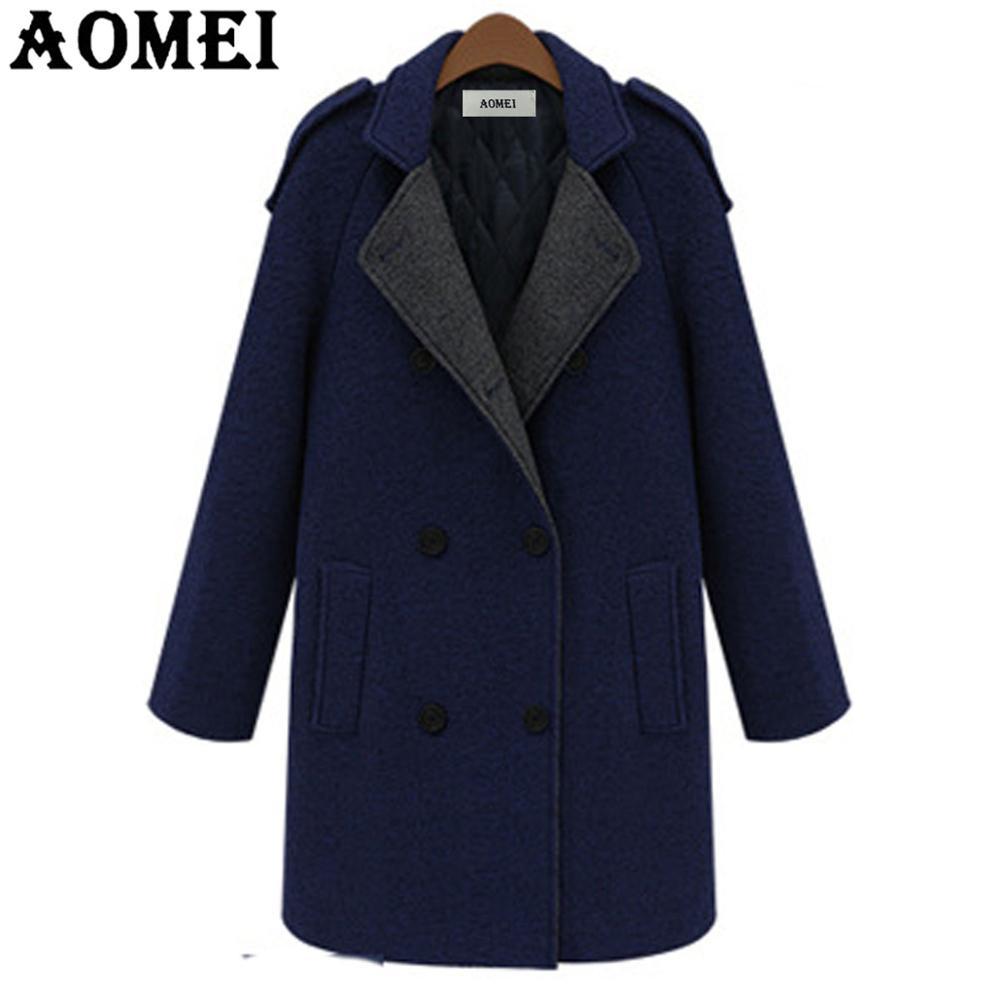 Женское повседневное модное шерстяное пальто темно-синего цвета, одежда для работы, Офисная Женская верхняя одежда, твид, новинка, осенне-весеннее пальто, накидка - Цвет: Navy Blue