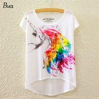 BLACK Brand 2016 New Fashion Summer Batwing Sleeve T Shirt Women Tops Tees Print Horse Unicorn