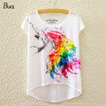 BLACK Brand 2016 New Fashion Summer Batwing Sleeve T Shirt Women Tops Tees Print Horse Unicorn T-Shirt Harajuku Style Tees