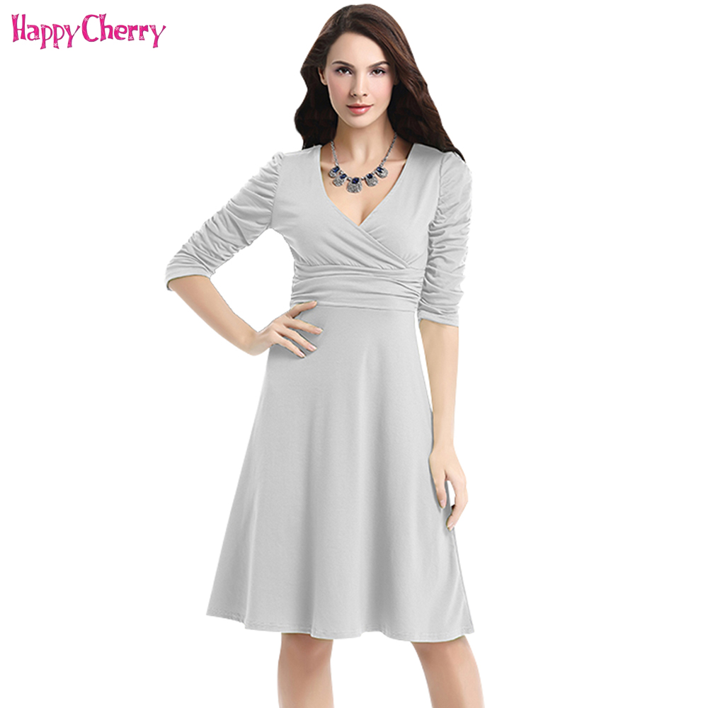 Happy Cherry Women Slim Maternity Pregnancy Brief Elegant Multicolor V-Neck Half Sleeve Stretchy Tunic Midi Formal Casual Dress