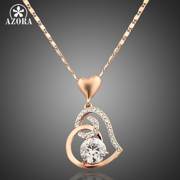 AZORA Rose Gold Color Stellux Crystals Heart Pendant Necklace for Valentine's Da
