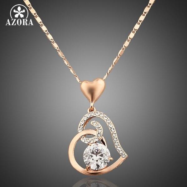 AZORA Rose Gold Màu Stellux Tinh Thể Mặt Dây Chuyền Trái Tim Vòng Cổ cho Ngày Valentine Quà Tặng của Tình Yêu TN0009