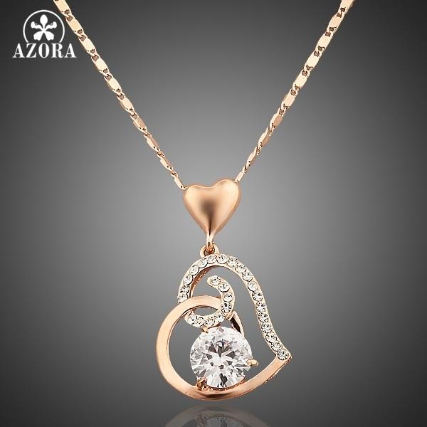 AZORA עלה זהב צבע Stellux קריסטלים לב תליון שרשרת עבור חג האהבה של אהבה TN0009