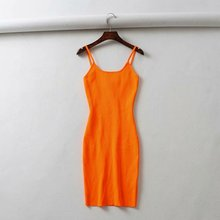2019 Summer Fluorescence Stretch Knitting Mini Dress Sexy  Club Women Party Dresses Slim Spaghetti Straps