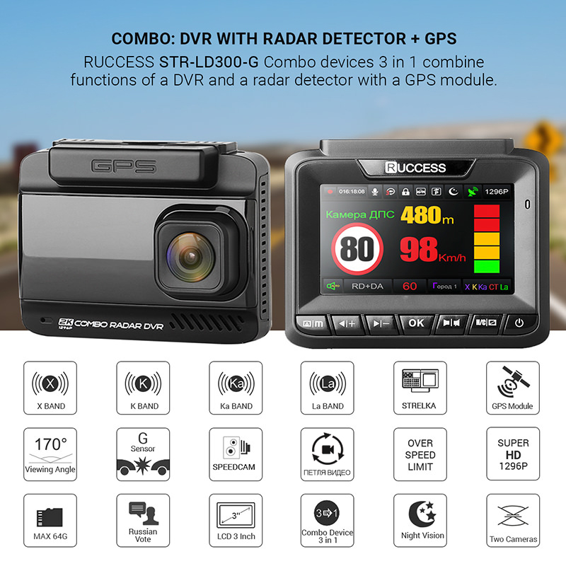 Ruccess Car DVR 3 in 1 DVR Radar Detector GPS Full HD 1080P Dual Cameras Auto Video Recorder 1296P Russian Night Vision WDR ADAS