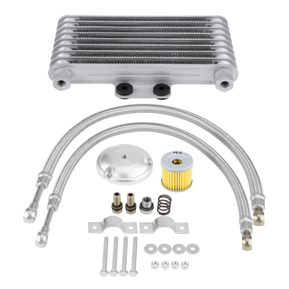 125ml Aluminum Motorcycle Oil Cooler Engine Oil Cooling Radiator System Kit for Suzuki 125CC 150CC 200CC