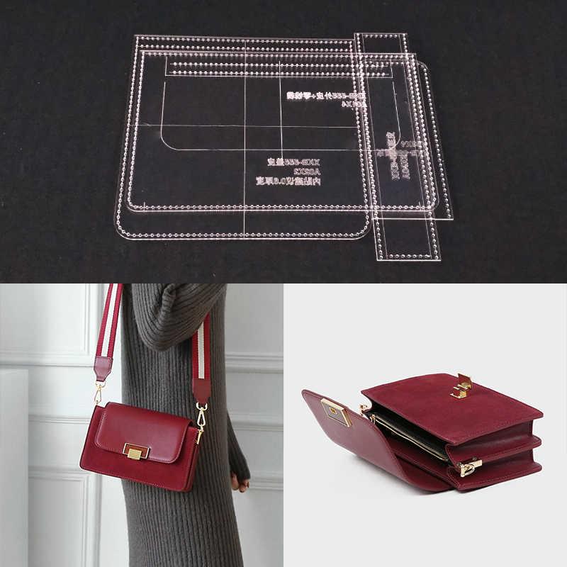40ca620e Plantilla acrílica de corte láser plantilla DIY cuero artesanal bolso de  hombro patrón de costura 220x145x60mm