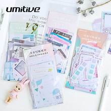 Umitive 45pcs/pack Watercolor Writable Stationery Bullet Diary Paper Cute Stickers Scrapbooking Flakes School Supplies Random