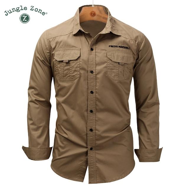 051404023b9 European large size men Work Shirt More pockets Men s lapel shirt Men s  Long Sleeve Button Down Shirts