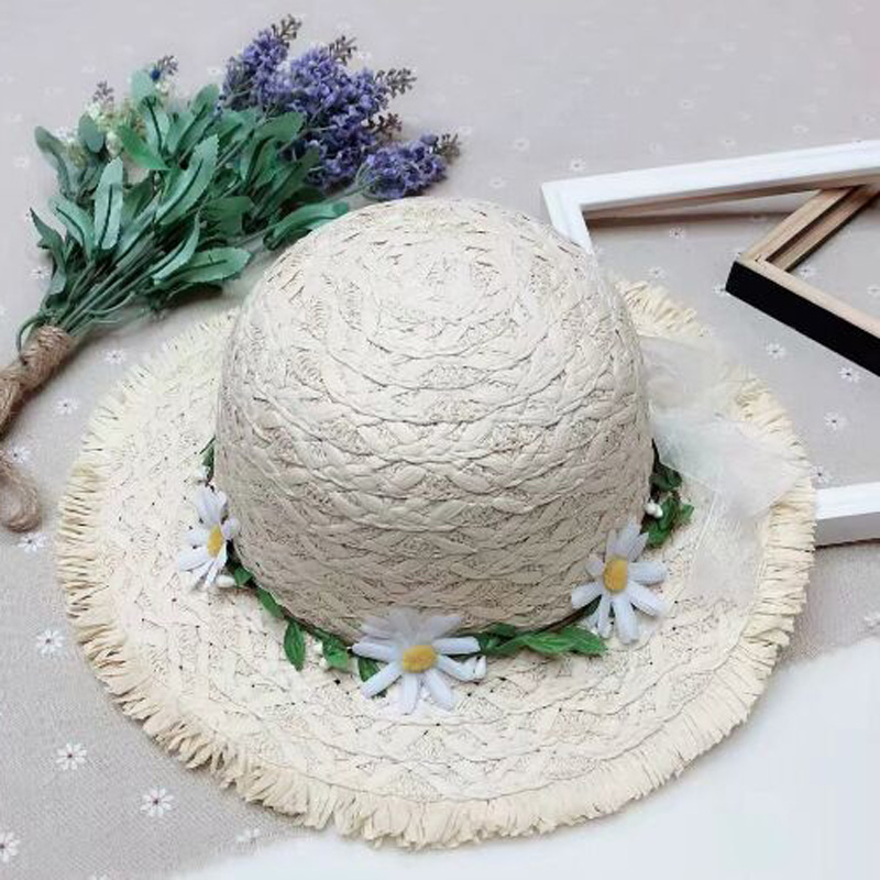 Rural Style Flower Cane Chidren Straw Hat Spring Summer Brand Wide Brim Sun Hat For girl and boy 52-53cm