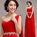 Nuevo 2017 de la moda de un hombro gasa larga formal abiye color rojo chica abalorios vestido de noche