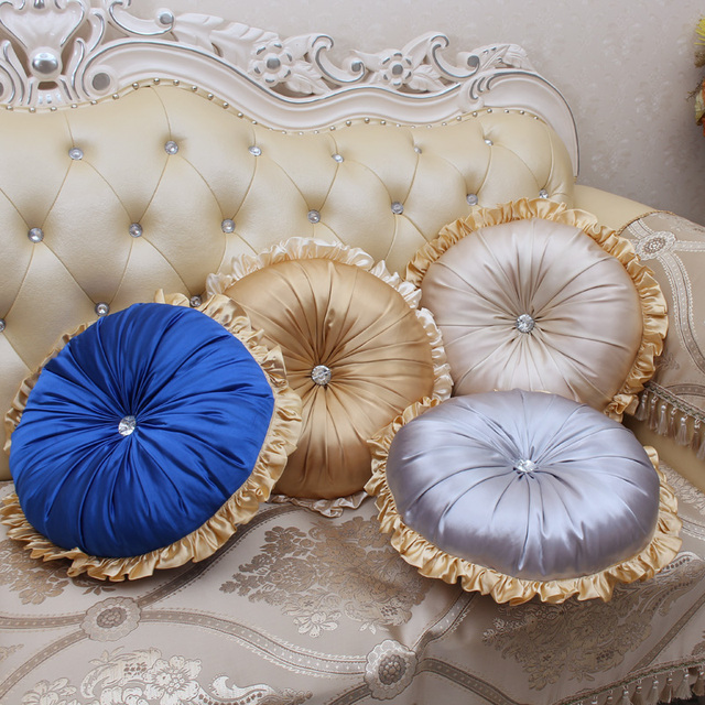 Pumpkin Silk Sofa Pillow Cushion With Core 40cm , Golden Color Double Sides  Round Seat Mat