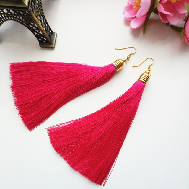LZHLQ Vintage Ethnic Long Tassel Earrings Women 2017 Fashion Brand Jewelry Geometric Alloy Plating Simple Dangle Drop Earrings 2
