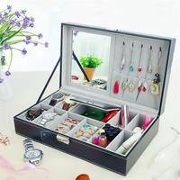 PU Leather Makeup Organizers Portable Women Wrist Watches Earrings Collection Necklace Jewelry Book Display Box Organizer D