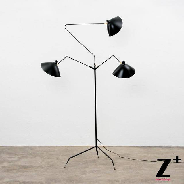 Replica item Serge Mouille lights Designer lighting rion black white three heads floor lamp