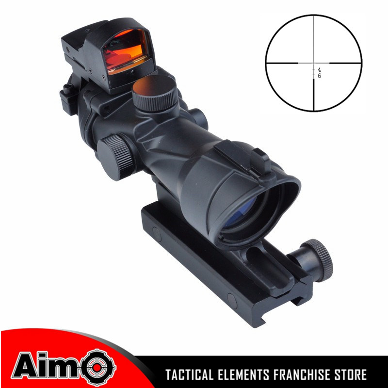 Airsoft Aim ACOG Style 4x32 Cross Rifle Scope Optical Sight Scope with Docter Mini Red Dot Light Sensor Hunting Shootin AO 5317 jj airsoft docter mini red dot sight light sensor black