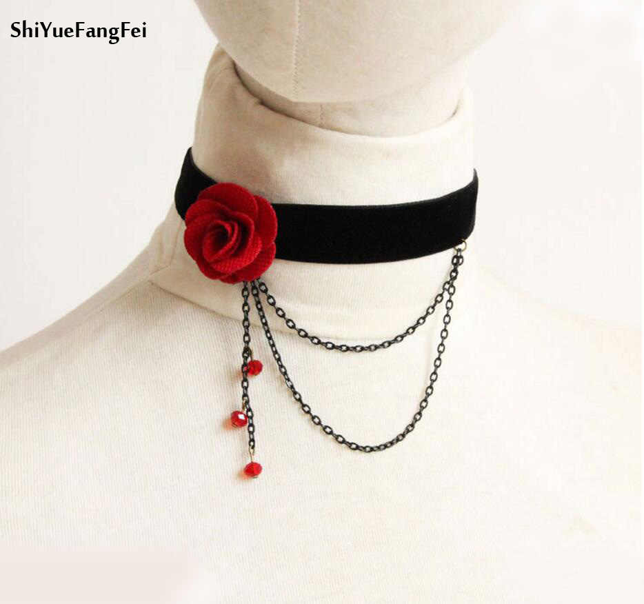 Vintage Hollow Rose Flower Punk Black Lace Necklace Out Big Handmade Gothic Lolita Bracelet Tassels Beads Wedding Jewelry