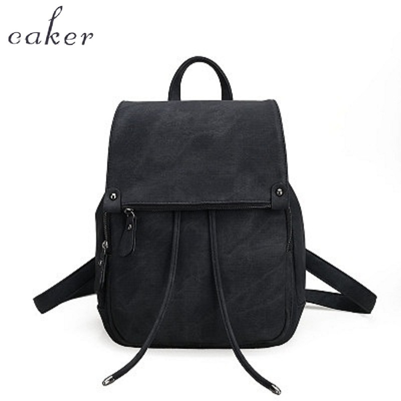 Caker Women Pink PU Leather Large Backpack School Bags Female Drawstring Backpacks For Girl Preppy Style