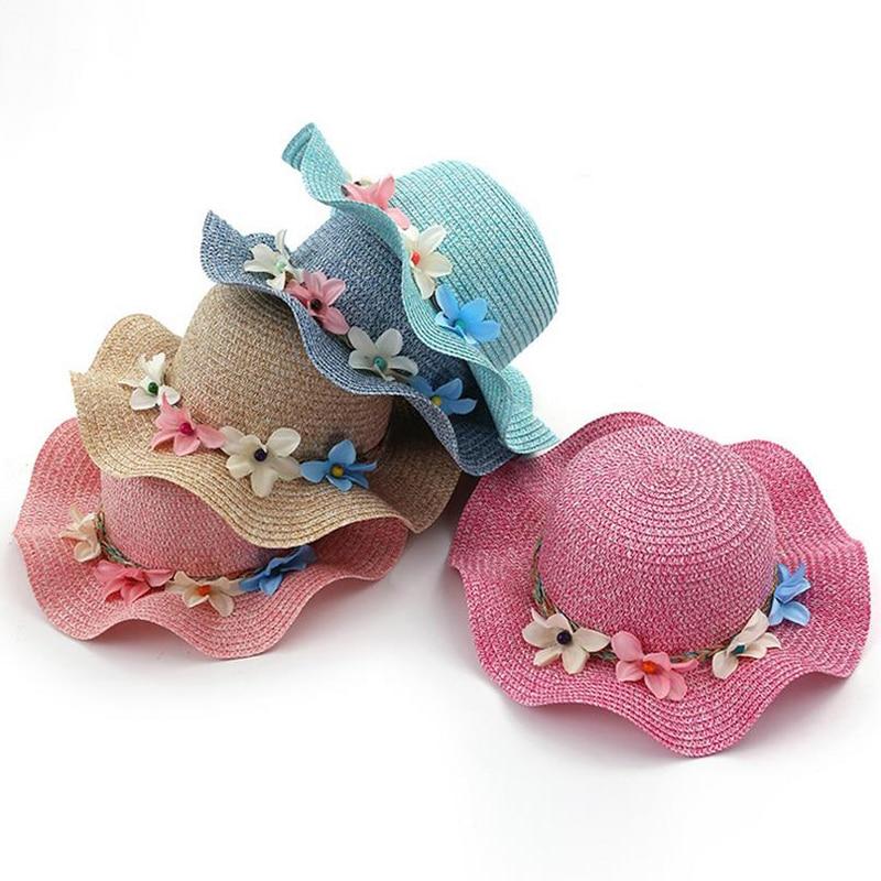 Nowa moda Dziecko Dziewczęta i Mama Słoma Kwiaty Kapelusz - Odzież dla niemowląt - Zdjęcie 2