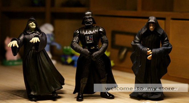 ФОТО 3pcs/set darth vader dark emperor parr black cloak wizard handdone figure doll gift toy