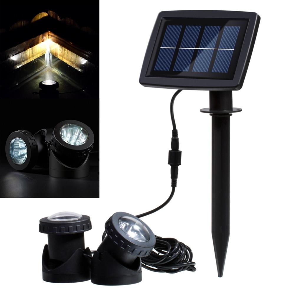 Led Solar Light Waterdicht 12 Led Verlichting Landschap Spotlight Met 2 Lampen En Zonnepaneel Voor Outdoor/tuin/ Zwembad/vijver/gazon