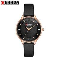 CURREN Fashion Casual Women Quartz Watches Leather Bracelet Simple Analog Rose Gold Case Ladies Wristwatches Clock Montre Femme