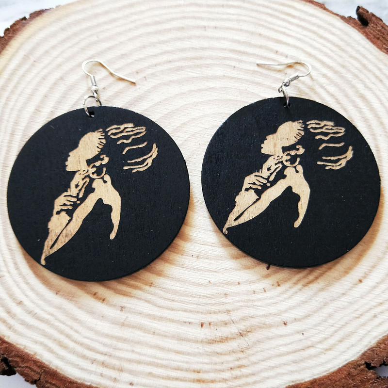 Handmade Wood Africa Black Engraved Beautiful Girl Tribal Silver Earrings Ethnic Wooden Party Accessory Club African Ear Jewelry in Drop Earrings from Jewelry Accessories