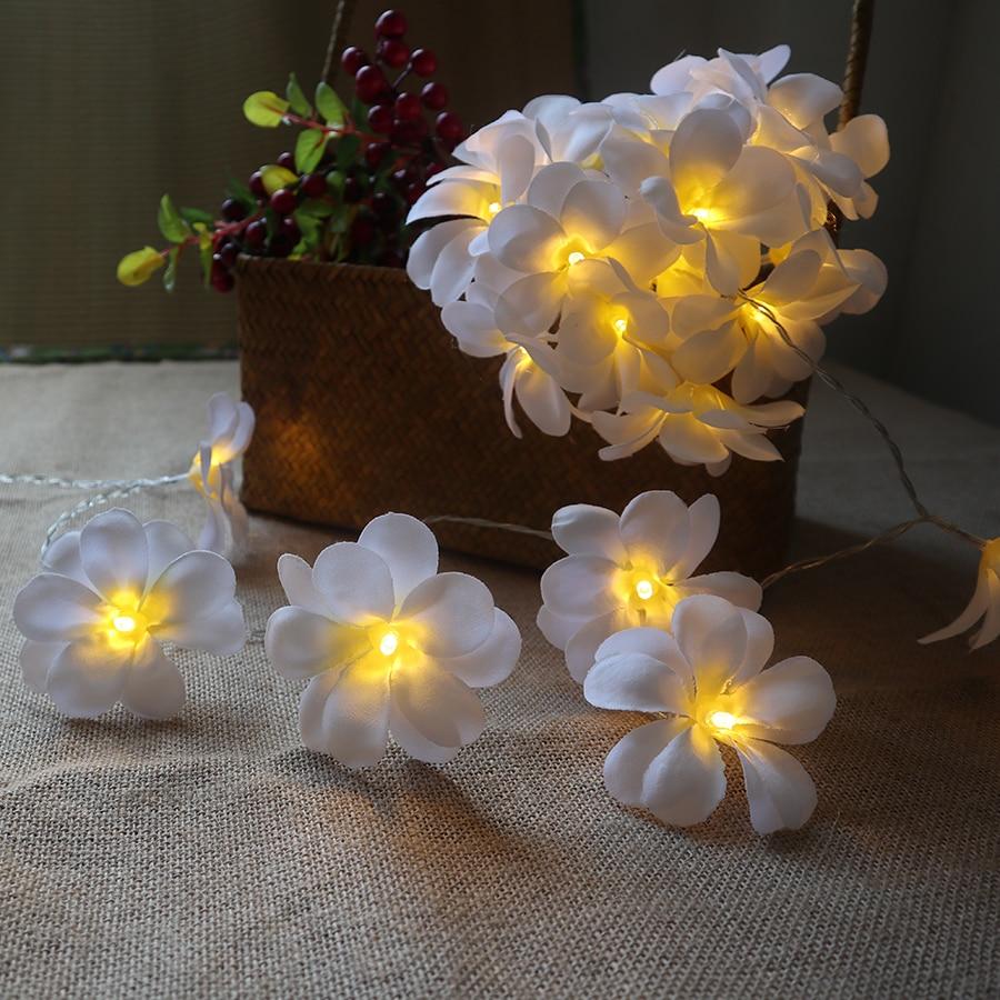Creative DIY frangipani LED String Lights Batteri blomsterferie - Ferie belysning - Foto 2