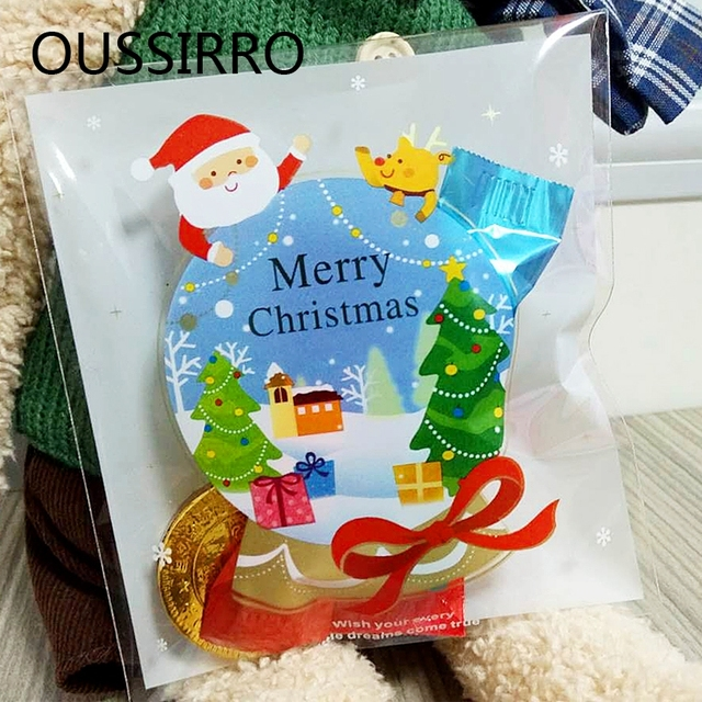 25 Pcs 10*11 cm Presentes Bonitos Dos Desenhos Animados Sacos de Embalagem De Biscoito Do Natal Auto-adesiva Sacos de Plástico Para Biscoitos alimentos doces Bolo Pacote