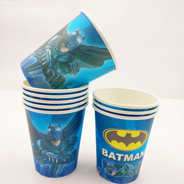 10pcs Incredible Batman Themed Cup Supplies Party Favor Ideas 1st Birthday Invitations Decorations Plastic Tableware Cups