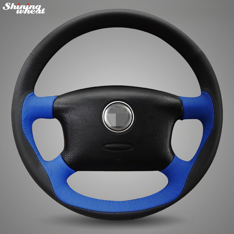Shining wheat Black Blue Leather Hand-stitched Steering Wheel Cover for Volkswagen Passat B5 VW Passat B5 VW Golf 4