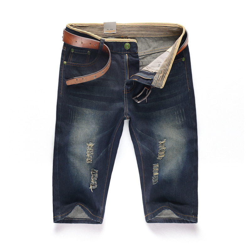 Free Shipping 2016 New Summer Men Casual Jeans Shorts Bermuda Masculina fifth Pants Slim Straight Hole Denim Short Plus Size 38