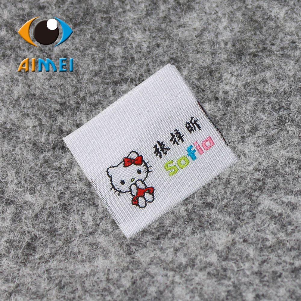 Customized end fold garment tags custom washable clothing Woven Labels embroidery stitching label sewing fabric tag
