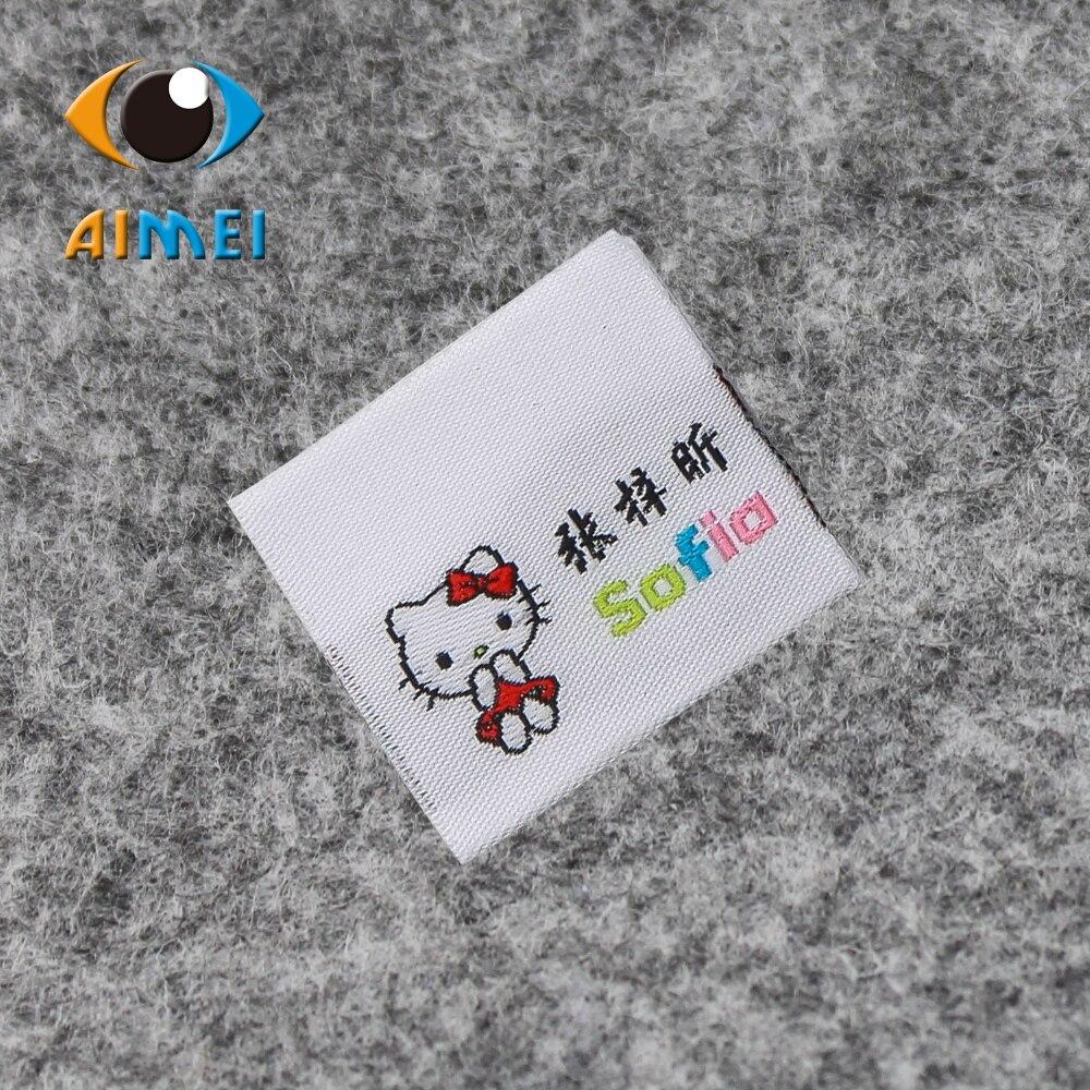 Su misura di fascia fold garment tag personalizzati lavabile abbigliamento Etichette Tessute ricamo cucitura etichetta da cucire etichetta in tessuto vestito di supporto-in Etichette per indumenti da Casa e giardino su  Gruppo 1