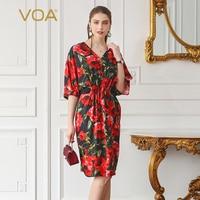 VOA 2018 Spring Summer Plus Size Red Rose Floral African Print Dress Sexy Deep V Neck Bat Sleeve Silk Women Midi Dress ASX00202