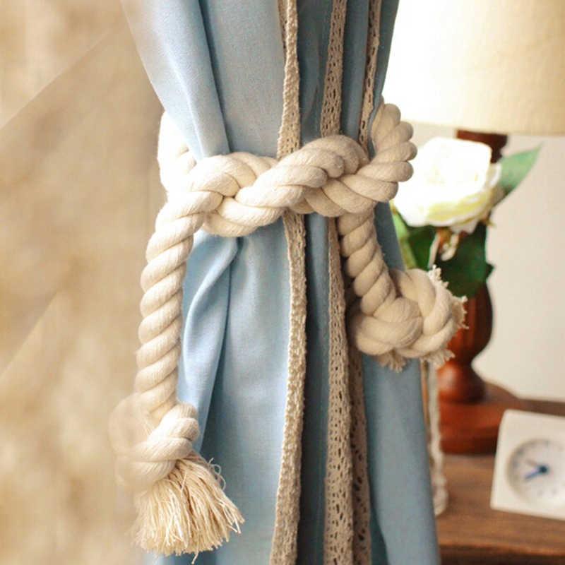 2 stks Lengte 80 cm Dikke Lijnen Twisted Decoratief Koord-Voet Katoen Natuurlijke Touw Zakken Gordijn Gesp Bandjes Koppelverkoop