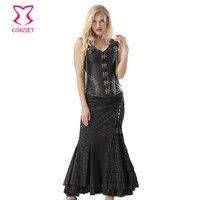 Punk Black Leather Armor Satin Steel Boned Steampunk Overbust Corset Dress Plus Size 6XL Vintage Gothic Corset Bustier Skirt Set