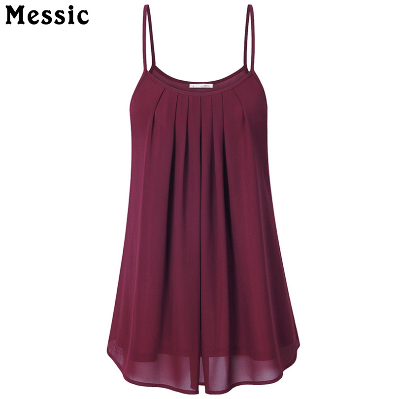 Messic Women s Summer Sleeveless Pleated Chiffon Layered Camis Front Pleat Cool Tank Top Red Black