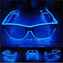1 шт. мигающий EL провода светодиодный очки световой вечерние декоративный светильник ing классический подарок яркий светодиодный светильник со шнуровкой вечерние солнцезащитные очки для женщин