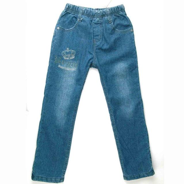 Boys fleece Jeans Warm flocking Denim Trousers Winter outerwear kids Pants children crown embroider autumn fluff clothes MH9005