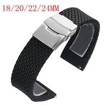 18 мм/20 мм/22 мм/24 мм ширина черные силиконовые наручные часы ремешок с безопасной раскладной застежкой Мягкие силиконовые Регулируемые часы ремешок