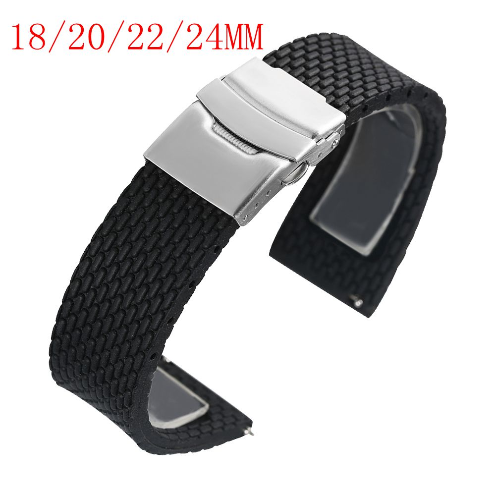18MM/20MM/22MM/24MM Width Black Silicone Wristwatch Band Strap With Safety Folding Clasp Soft Silica Adjustable Watches Strap