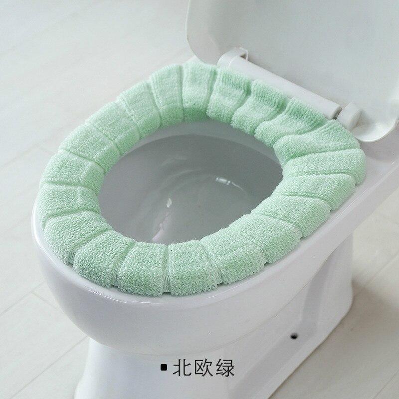 Горячая удобные бархатные коралловые крышки для ванной унитаза моющиеся стандартные мягкие тыквенные ленты для унитаза - Цвет: Nordic Green