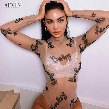 Womens Rompers Jumpsuit Sexy Bodysuit Long Sleeve Baby Print See Through Mesh Bodysuit Summer Street Club Bodycon Overalls New
