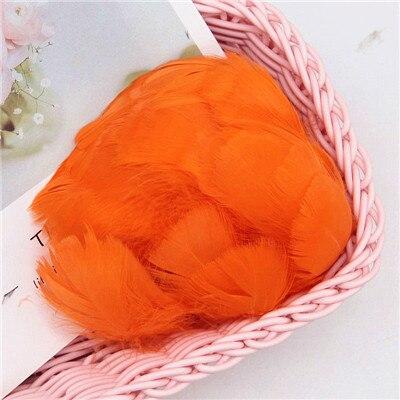 Разноцветные, 100 шт, гусиные перья, 8-12 см, гусиные перья, сценический шлейф, перья, промытый гусиный пух, пушистый шлейф для свадьбы, 3-4 дюйма - Цвет: orange