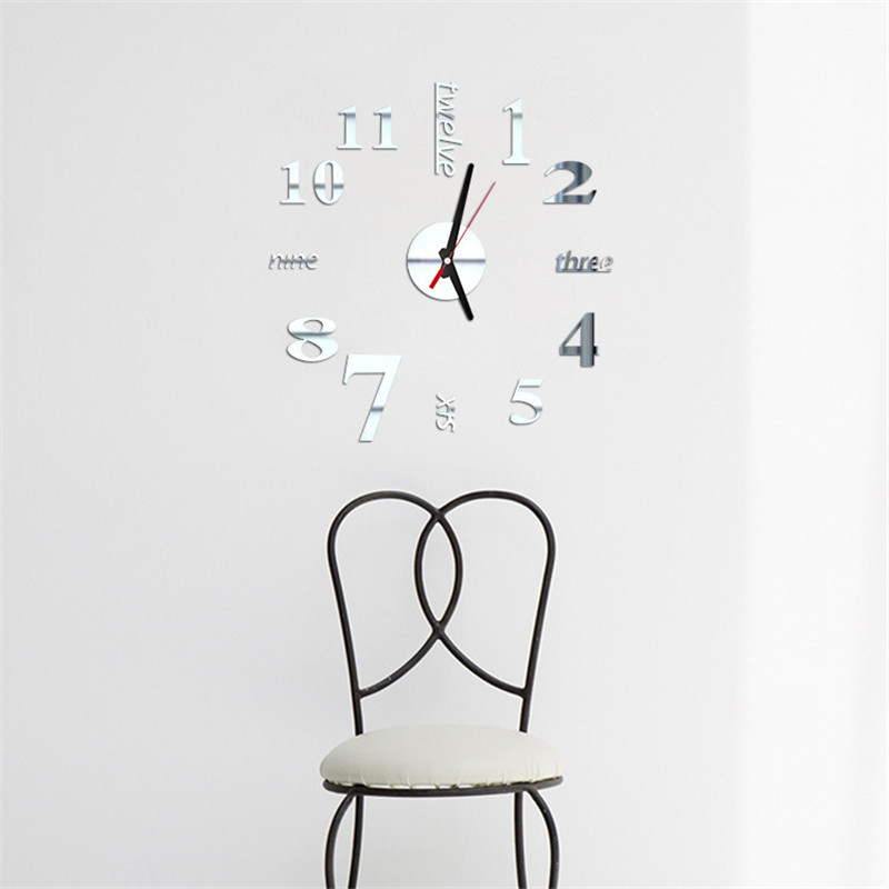 1pc Mixed Numbers & Letters Clocks Watches 3D Real Big Wall Clock Rushed Mirror Wall Sticker DIY Living Room Bedroom Decor