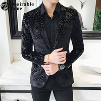 Slim Fit Black Blazer Men 2018 New Arrival Mens Velvet Blazers Floral Prom Dress Blazers Casual Blazer and Suit Jacket Men DT433