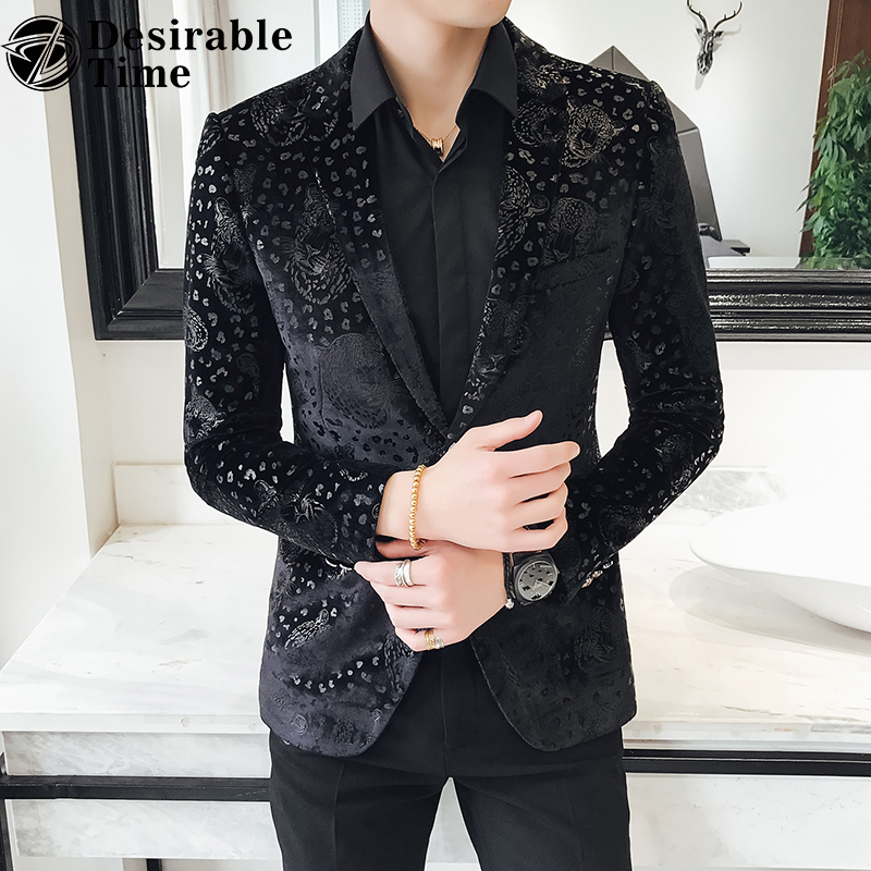Slim Fit Black Blazer Men 2018 Arrival Mens Velvet Blazers Floral Prom Dress Casual